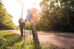 Trekking. Two woman trekking along the forest pathway with trekking pole in morning sunlight Royalty Free Stock Photos