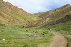 Trekking in Valley of flowers Mongolia Royalty Free Stock Photography