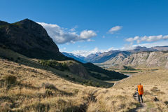 Trekking in the Valley and Mountains Royalty Free Stock Image