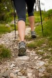 Trekking - woman hiking in mountains on a calm sumer day Stock Photography
