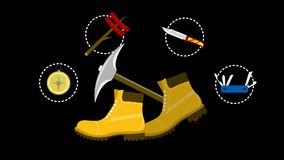 Yellow boots with hammer and other tools.
