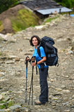 Trekking young woman in the Himalayas Stock Photos
