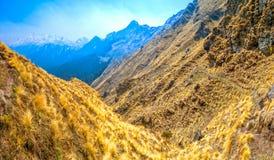 Trekkingsslepen in Himalayagebergte Stock Foto's