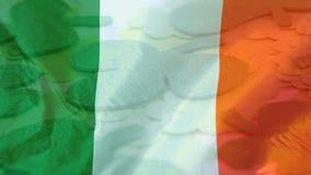 Treklöverer med en irländsk flagga på förgrunden arkivfilmer