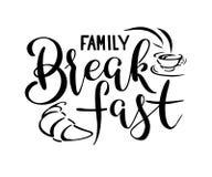 Trekt de van letters voorziende hand van het familieontbijt vector illustratie