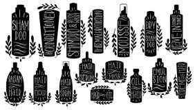 Trekt de vastgestelde hand van de schoonheidshaarverzorging Vorm kosmetisch veredelingsmiddel, mosse, dryshampoo, tekst, leavein, royalty-vrije illustratie