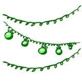 Trekt de vector geïsoleerde hand Kerstmisstuk speelgoed slinger op een witte achtergrond stock illustratie