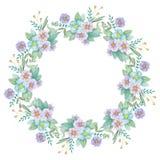Trekt de waterverf Botanische bloemenkroon met hand illustratie Stock Afbeeldingen