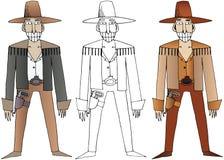 Trekt de wilde het westenhand van beeldverhaalcowboys de vastgestelde gelukkige krabbel van de kleurenillustratie vector illustratie