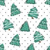 Trekt het stip naadloze patroon met hand groene sparren stock illustratie