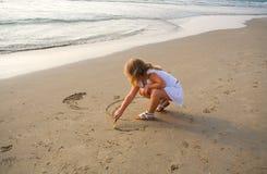 Trekt op zand Royalty-vrije Stock Foto's