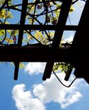 Trellis against Blue Sky. Restful view of sky Stock Photo