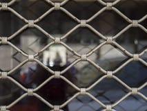 Trellis argenté classique de fenêtre de boutique de fer avec la réflexion brouillée image stock