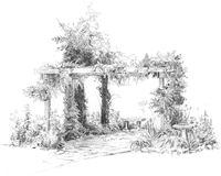 Trellis Drawing. A pencil drawing of a garden patio with trellis and vines royalty free illustration