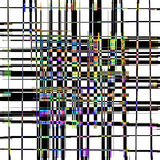 A Trellis Plaid Abstract with Color Accents. A black on white grid with a colorful plaid weave effect accent center Royalty Free Stock Photography