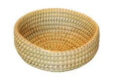 Trellis round basket on white background Royalty Free Stock Images