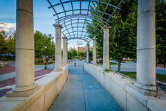 Trellis and walkway at Pack Square Park, in downtown Asheville, Royalty Free Stock Photos