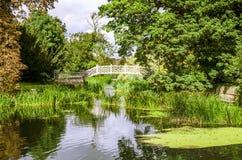 Trellised bro på en sjö Arkivfoto