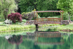 Trellised Garden Foot Bridge Reflection Mirror Royalty Free Stock Photography