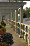 Trellised walkway at dusk royalty free stock photo
