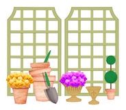 Trellises With Garden Tools and Flower Pots Royalty Free Stock Photos