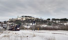 Trem abandonado no inverno Fotos de Stock