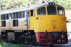Trem amarelo do motor diesel Imagem de Stock