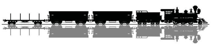 Trem americano clássico do vapor do frete ilustração stock