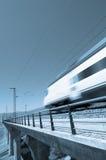 Trem azul da velocidade fotografia de stock royalty free