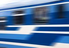 Trem azul da velocidade no movimento Foto de Stock