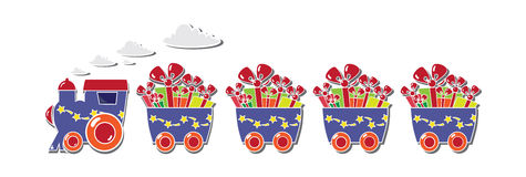 Trem bonito com caixas e baloons em um vale-oferta Fotografia de Stock Royalty Free