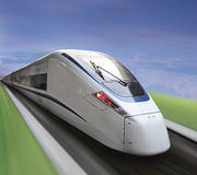 Trem branco de alta velocidade Imagens de Stock