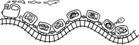 Trem com miúdos Imagens de Stock Royalty Free
