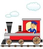 Trem com o polegar do maestro do sorriso acima ilustração stock
