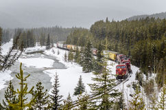 Trem da carga em uma trilha de encurvamento em um dia de inverno nevando fotografia de stock royalty free