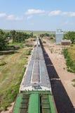 Trem da grão e elevador de grão Foto de Stock Royalty Free