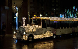 Trem da luz de Natal Fotos de Stock