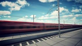 Trem de alta velocidade na estação ilustração do vetor