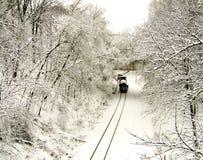 Trem de frete em trilhas nevadas Fotografia de Stock Royalty Free