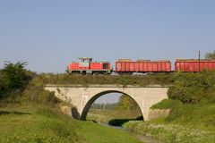 Trem de frete em Villany Foto de Stock Royalty Free