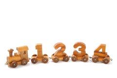 Trem 1234 de madeira Imagem de Stock Royalty Free