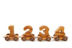Trem 1234 de madeira Fotografia de Stock