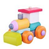 Trem de madeira da lógica do brinquedo com trajeto de grampeamento imagens de stock royalty free