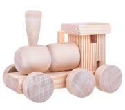 Trem de madeira da lógica do brinquedo com trajeto de grampeamento foto de stock royalty free