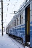 Trem de passageiros congelado Fotografia de Stock