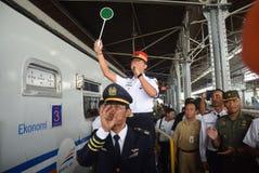 Trem de Tawang Jaya que lança o mais longo a Jakarta Fotos de Stock Royalty Free