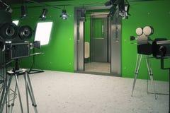 Trem de vagão do cenário do estúdio cinematográfico com câmeras de filme Foto de Stock
