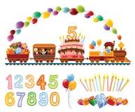 Trem do aniversário ilustração stock