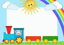 Trem do bebê. Estrutura da foto das crianças. Fotos de Stock Royalty Free