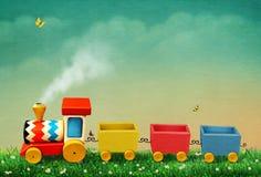 Trem do brinquedo do Pewter com letras ilustração stock